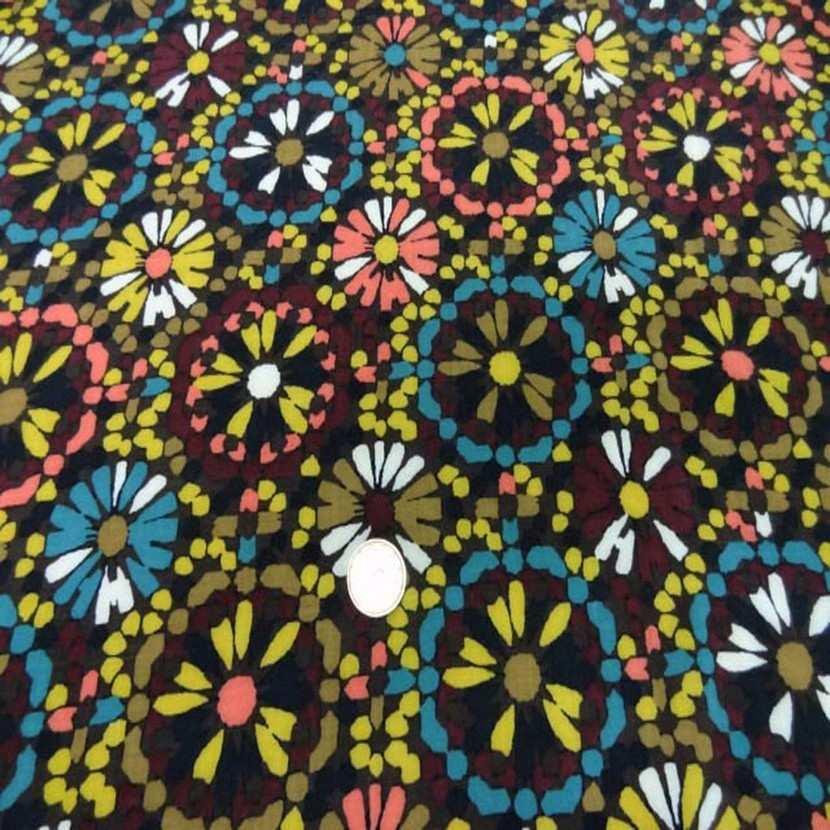 Viscose marron imprime fleurs8