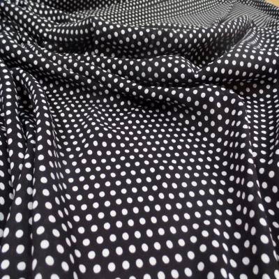 Viscose noire fine imprime imprime petit pois blanc