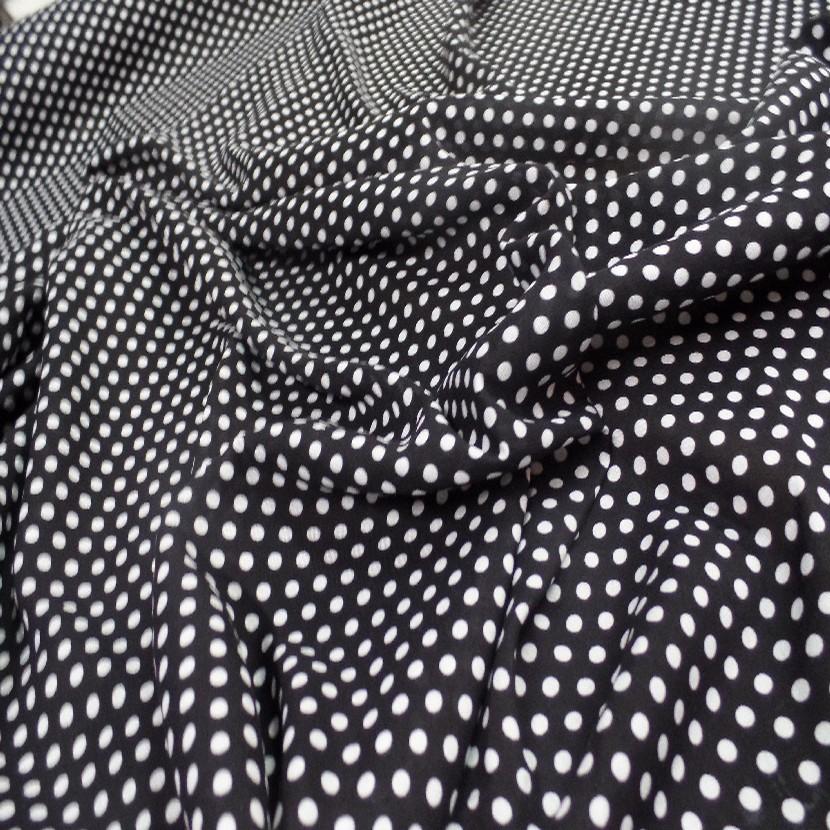 Viscose noire fine imprime imprime petit pois blanc0
