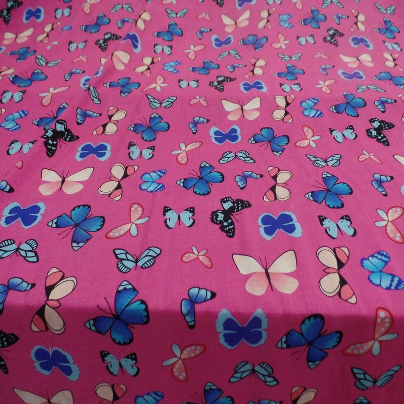 Viscose rose fuschia fine imprime papillon bleu et rose0