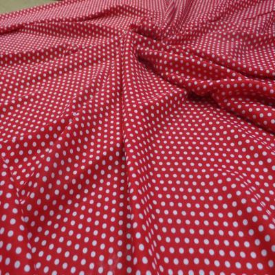 Viscose rouge fine imprime petit pois blanc8