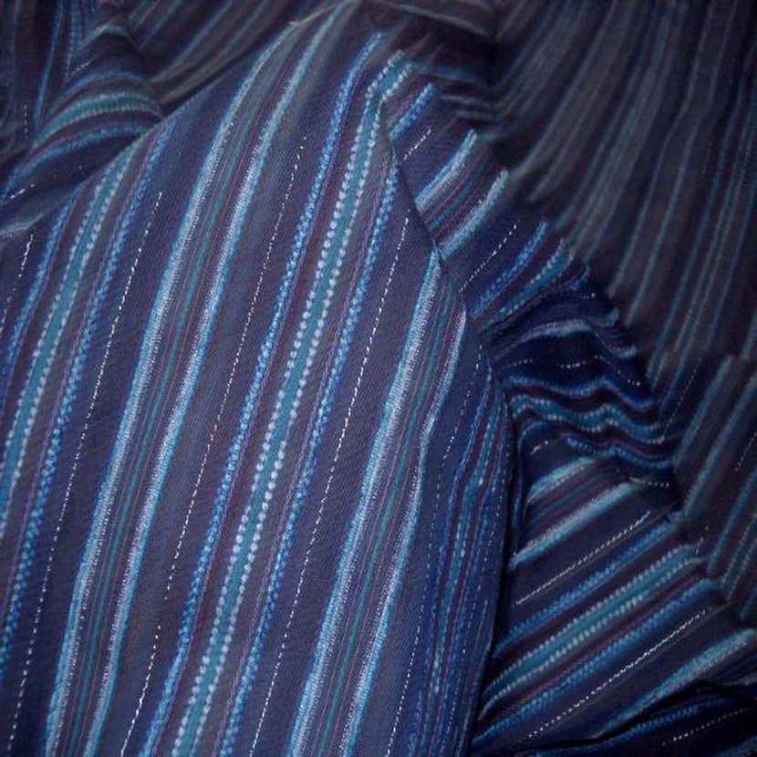 Voile bleu en coton melange brode rayures7