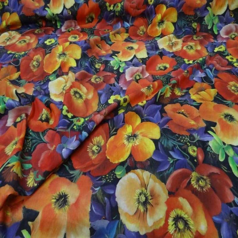 Voile coton soie imprime fleurs coquelicot