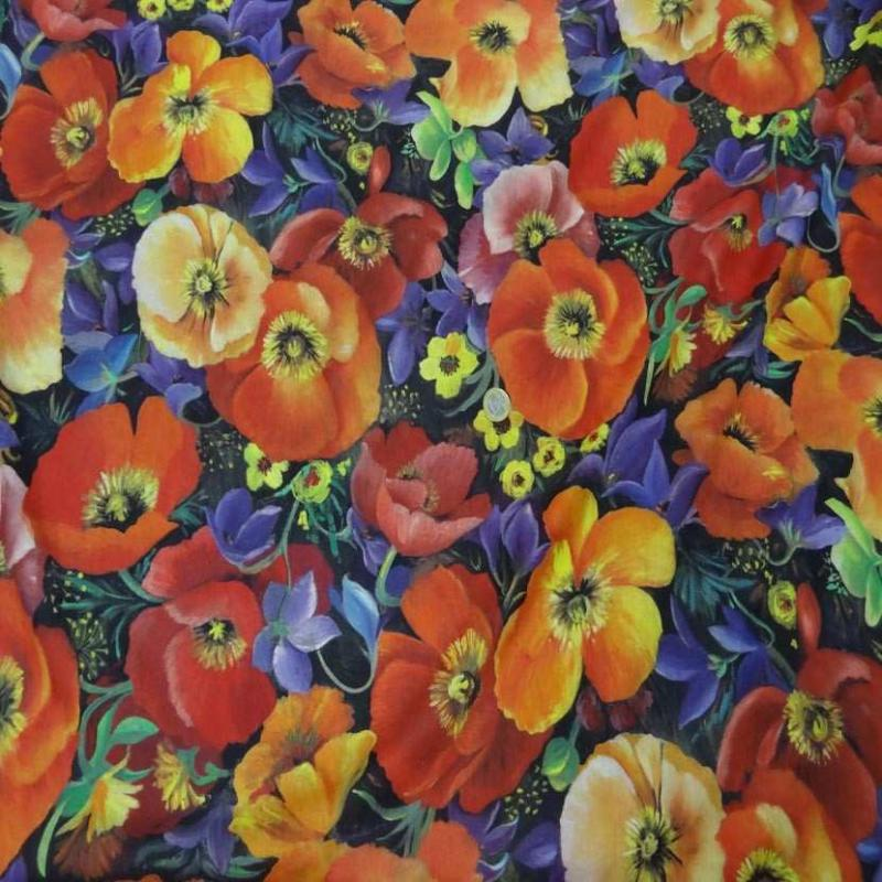 Voile coton soie imprime fleurs coquelicot4
