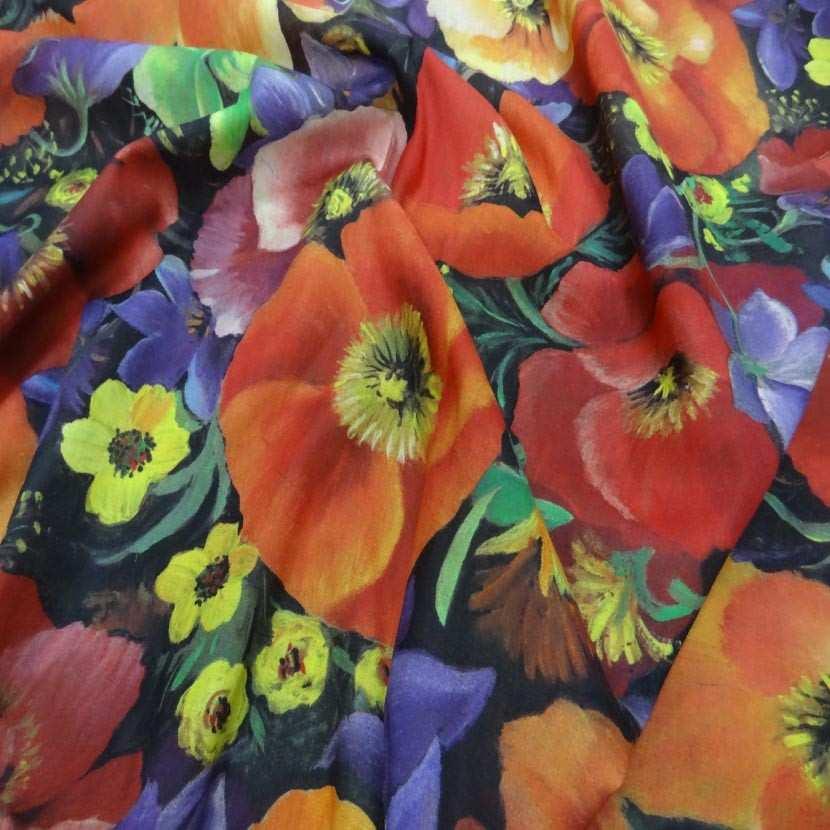 Voile coton soie imprime fleurs coquelicot5