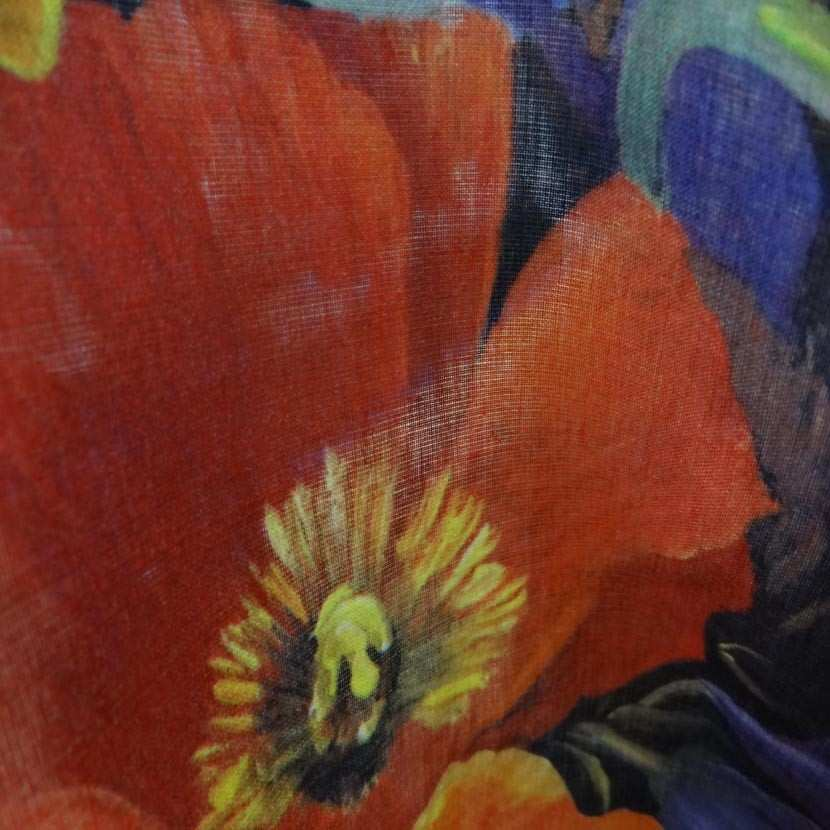 Voile coton soie imprime fleurs coquelicot7