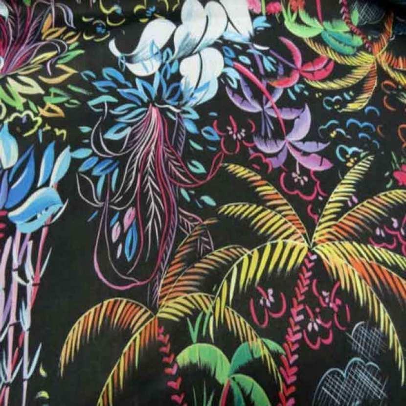 Voile coton soie noir imprime palmier multicolore