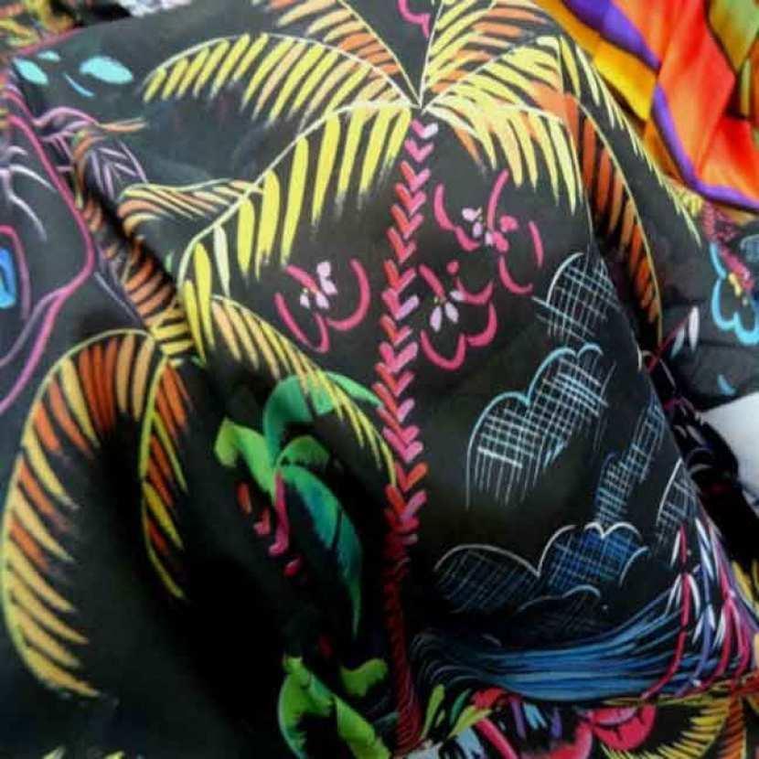 Voile coton soie noir imprime palmier multicolore3