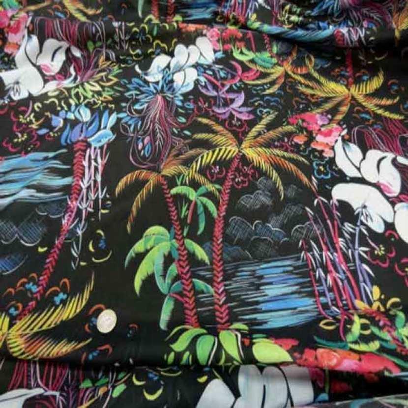 Voile coton soie noir imprime palmier multicolore8