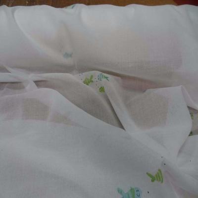 Voile de coton blanc imprime poisson