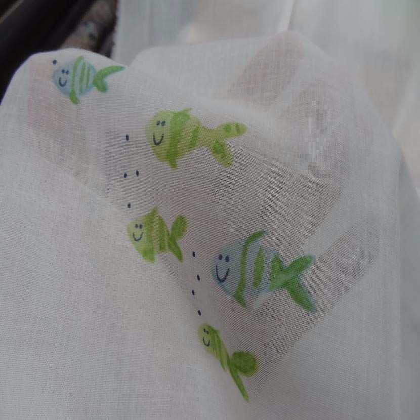 Voile de coton blanc imprime poisson2