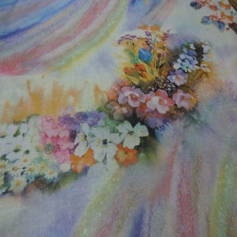 Voile de coton imprime arc en ciel et fleurs0