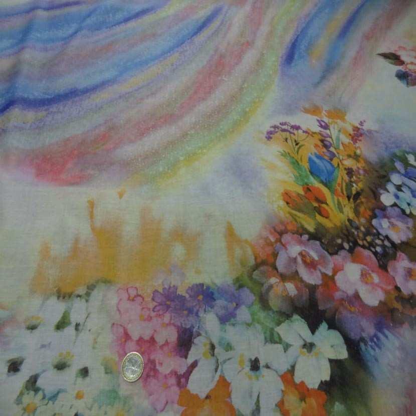 Voile de coton imprime arc en ciel et fleurs5