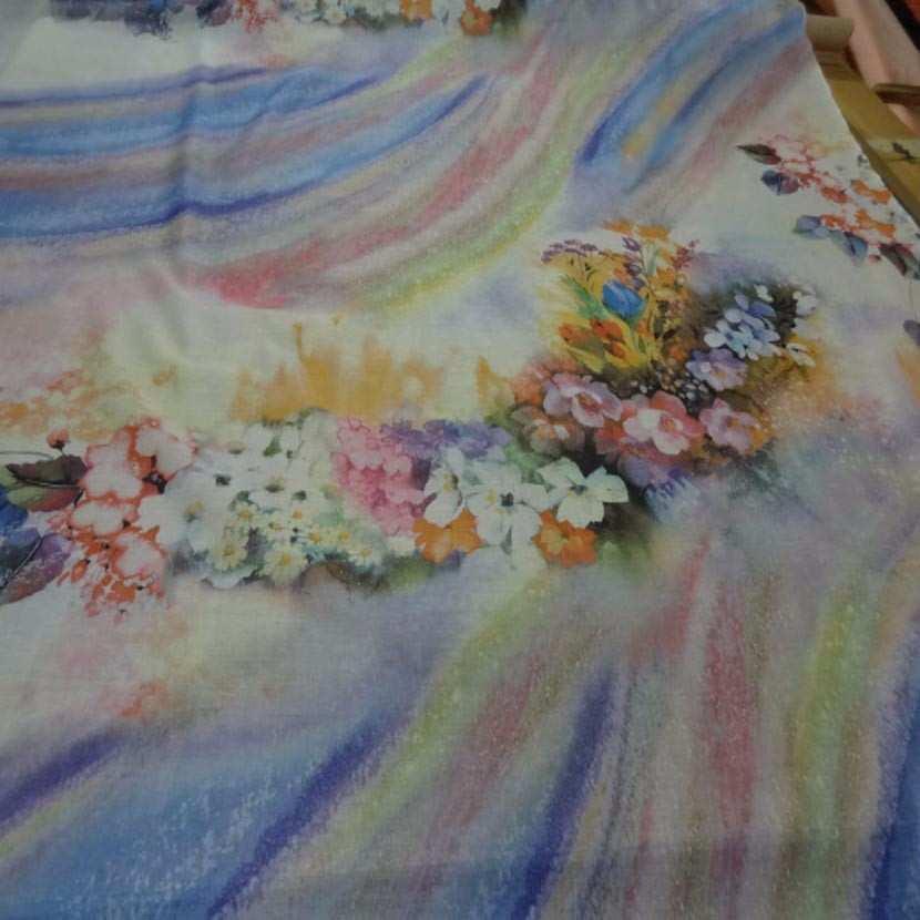 Voile de coton imprime arc en ciel et fleurs9