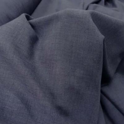 Voile de coton polyester gris bleu