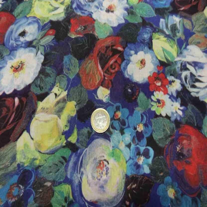 Voile de coton soie sur fond bleu imprime fleurs4