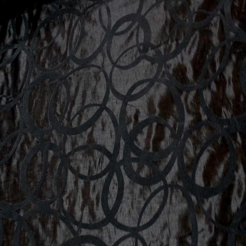 Voile de lin lurex noir a motifs aspect devore en velours gris6