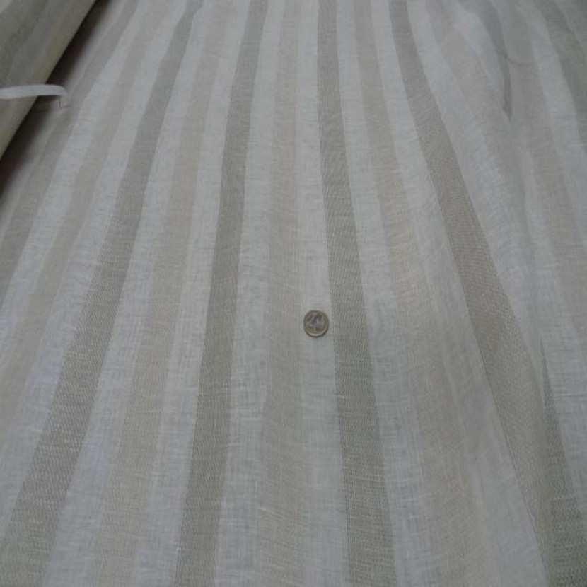 Voile de lin naturel a bandes en 3 30mde large