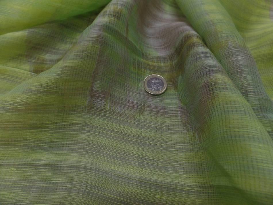 vente de voilage de lin et soie façonné rayure ton anis et beige taupe en ligne pas cher