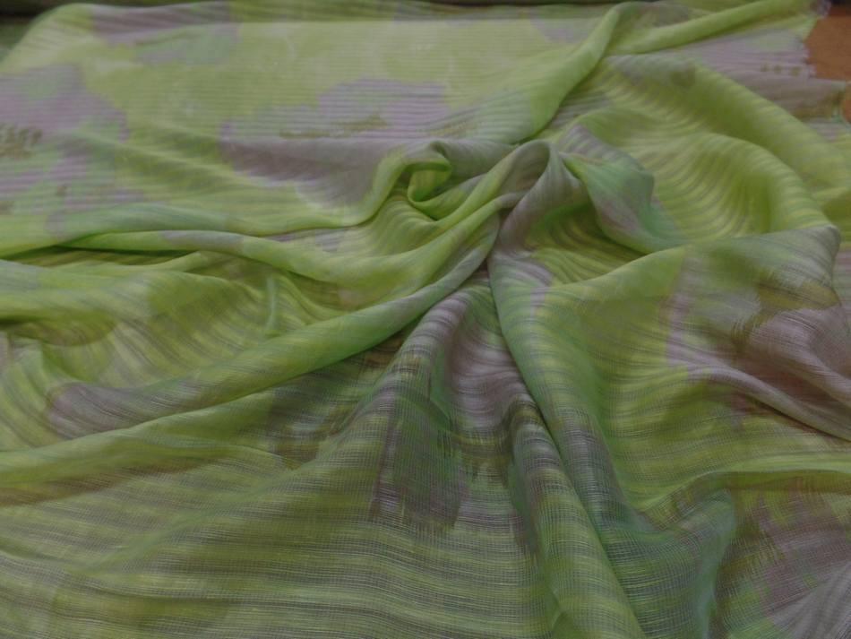 vente de voile de lin soie façonné rayure ton anis et beige taupe en ligne