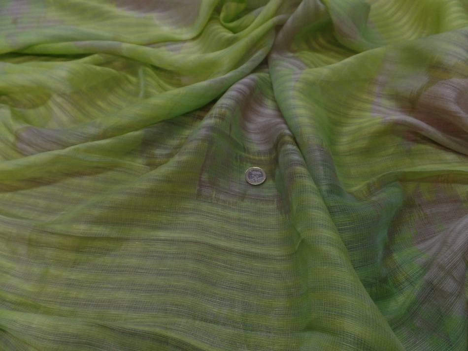 vente de voile de lin soie façonné rayure ton anis et beige taupe a Marseille