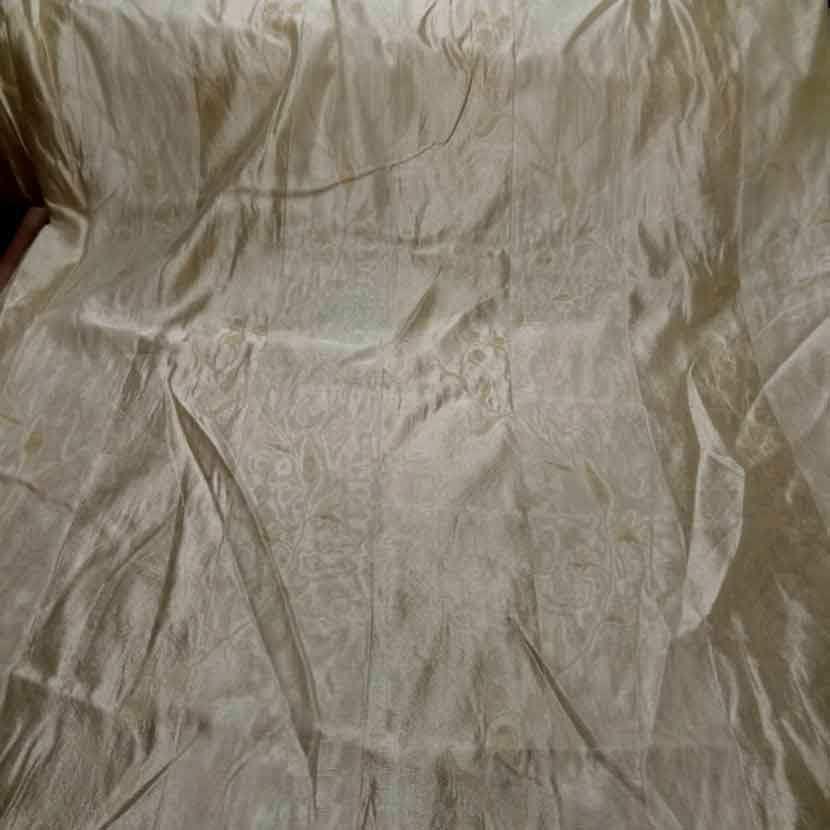 Voile de soie 100 brode a rayures ton beige5