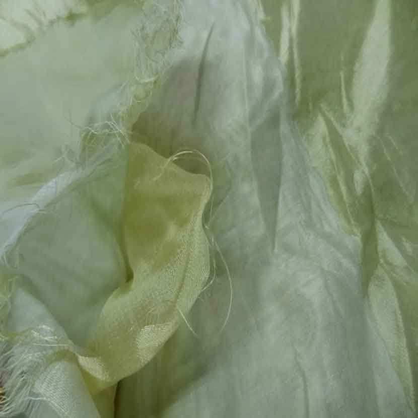 Voile de soie 100 faconne rayures ton anis clair9