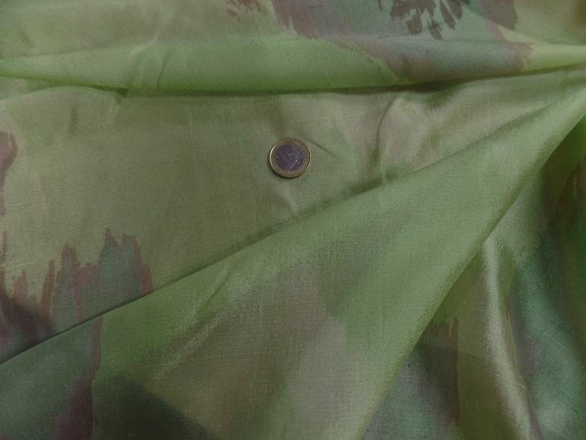Voile de soie 100 vert imprime2