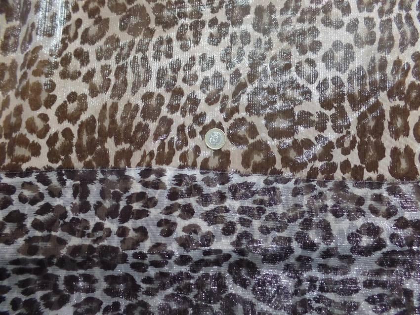 Voile de soie blanc brillant imprime fauve marron8