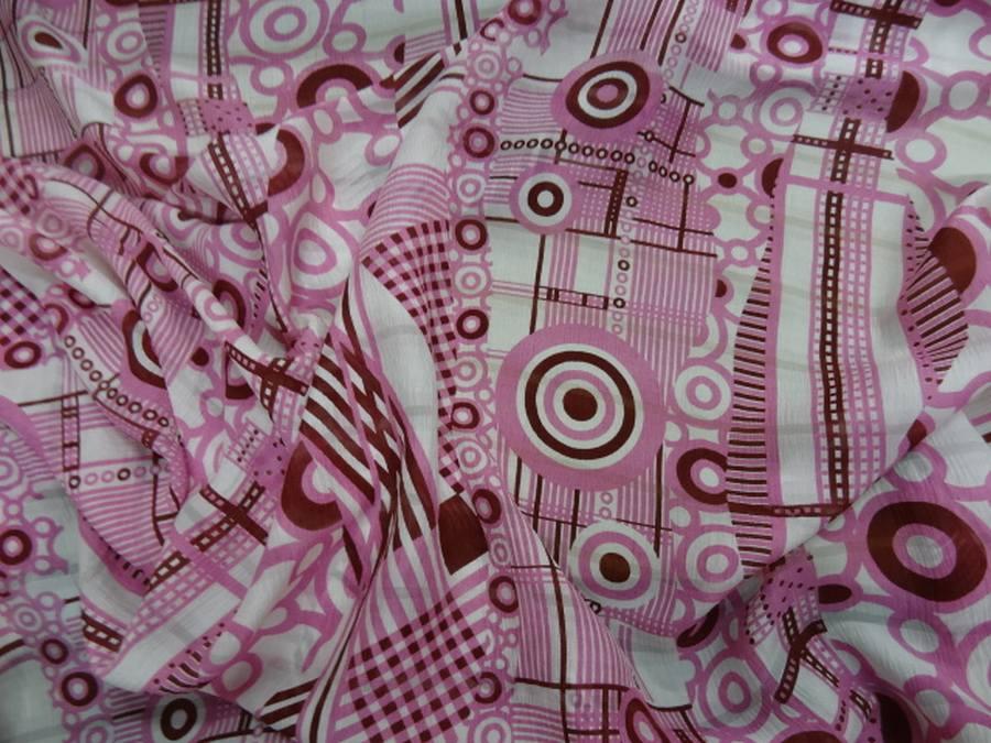 Voile de soie crepon imprime retro ton blanc rose et bordeaux0