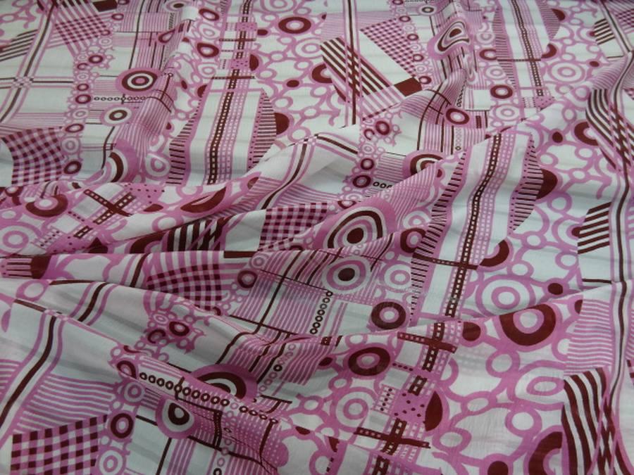 Voile de soie crepon imprime retro ton blanc rose et bordeaux08