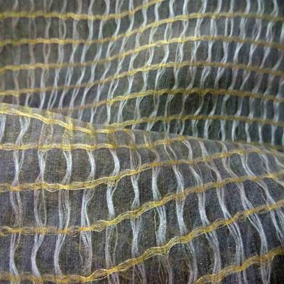 Voile de soie faconne kaki dore