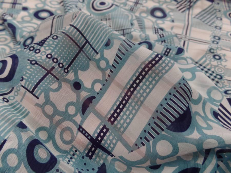 Voile de soie imprime retro ton blanc et bleu8