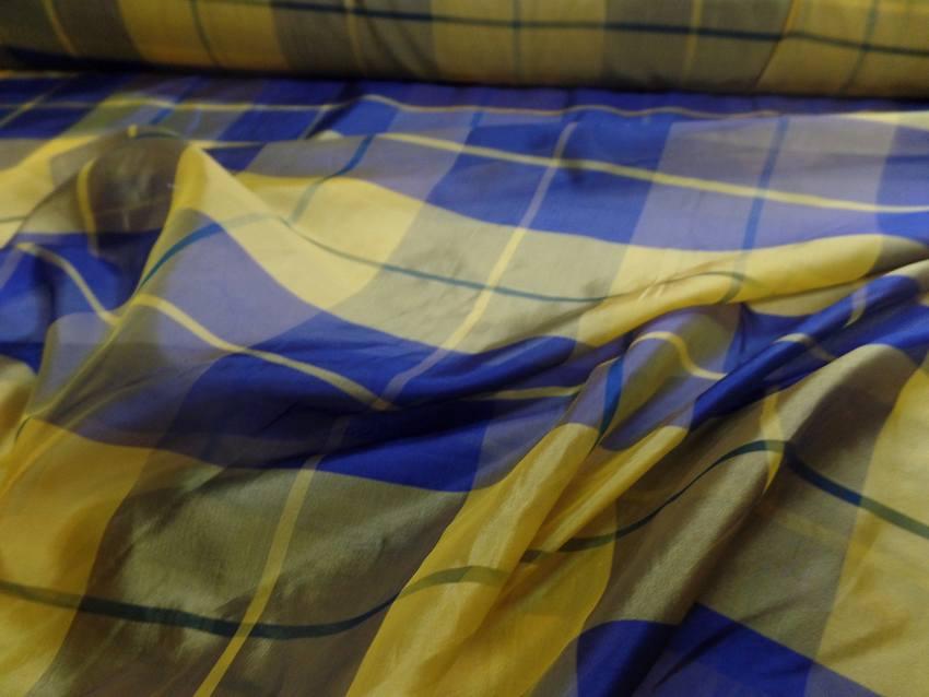 Voile de soire imprime madrass jaune et bleu