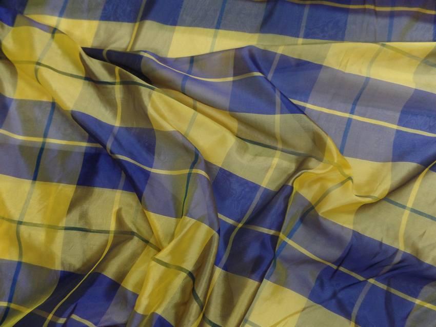 Voile de soire imprime madrass jaune et bleu4