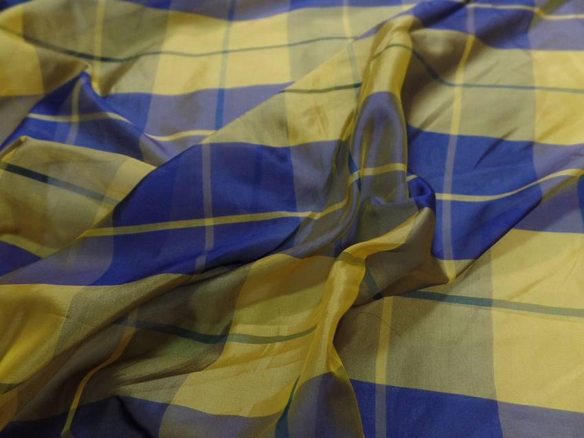 Voile de soire imprime madras jaune et bleu