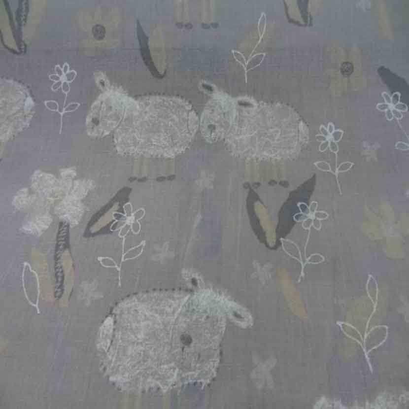 Voile polyester coton gris imprime enfant