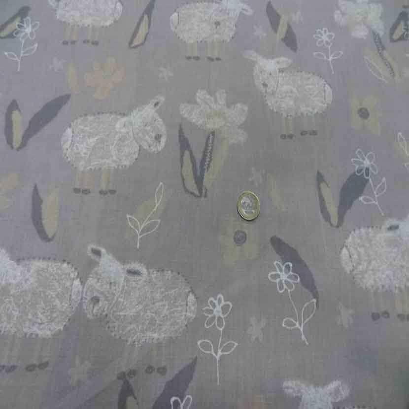 Voile polyester coton gris imprime enfant2