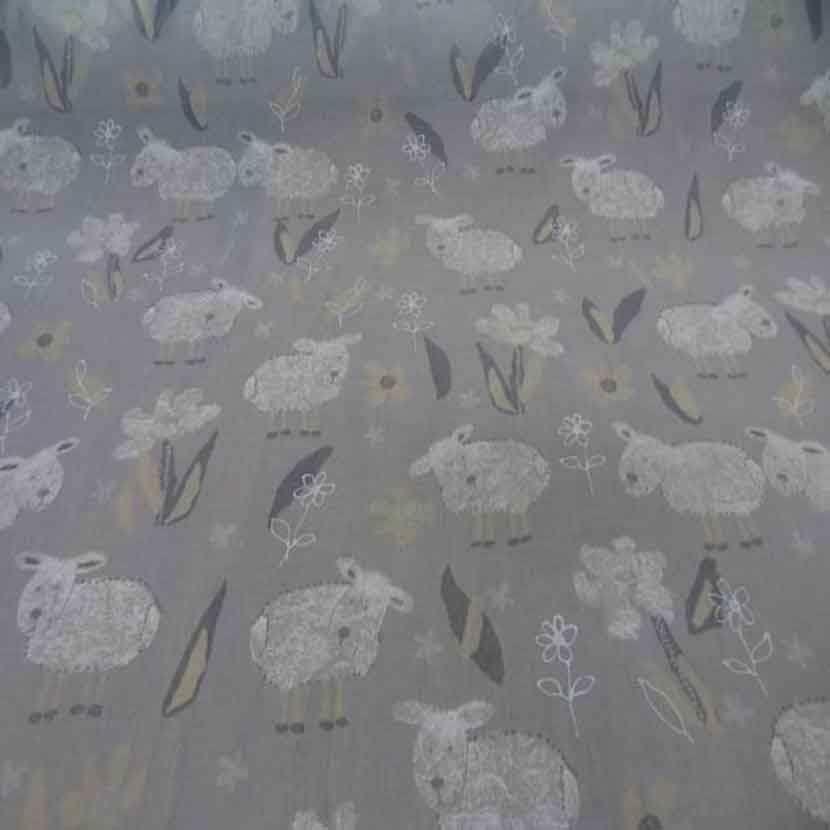 Voile polyester coton gris imprime enfant8