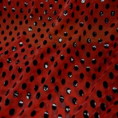 Voile polyester rouge bordeaux a pois noir en vinyl