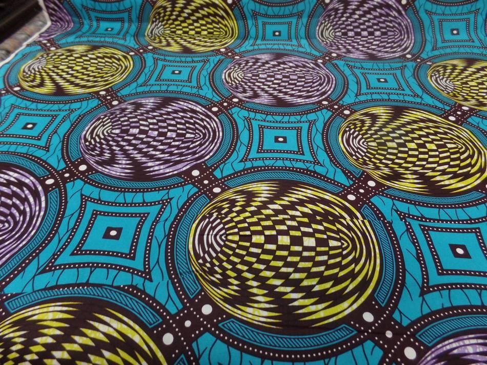 Wax bleu turquoise imprime jaune marron et lavande